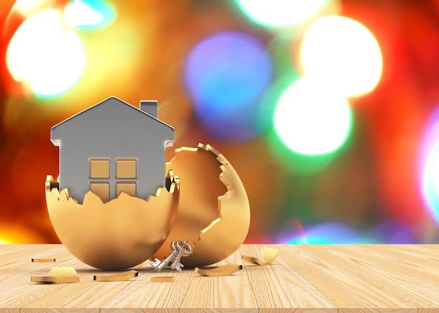Icône de la maison en or oeuf de pâques cassé sur lumières floues