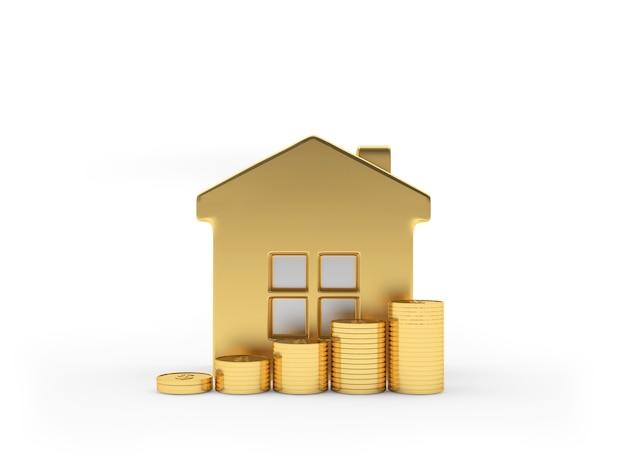Icône de la maison or avec des pièces sur blanc