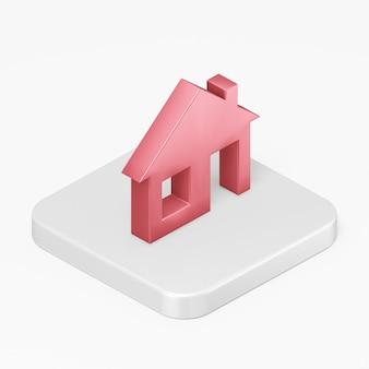 Icône de maison rouge de rendu 3d sur une touche de bouton carré blanc isolé sur fond blanc
