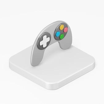 Icône de manette de jeu grise avec boutons multicolores dans l'élément de l'interface utilisateur de l'interface de rendu 3d ux