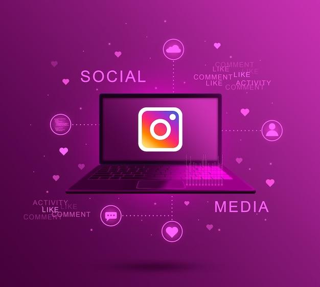 Icône de médias sociaux instagram sur écran d'ordinateur portable