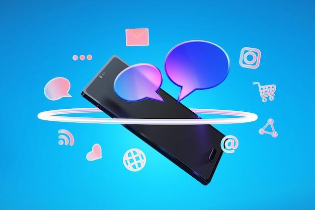 Icône de médias sociaux avec smartphone