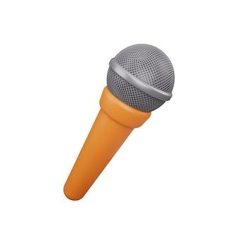 Icône de microphone 3d isolé sur fond blanc. icône de microphone de rendu 3d isolé sur blanc. illustration de microphone 3d