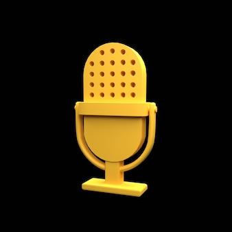 Icône de microphone 3d isolé sur fond noir. illustration de microphone 3d