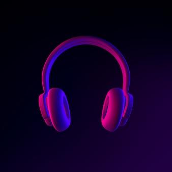 Icône de néon de casque. élément d'interface ui ux de rendu 3d. symbole lumineux sombre.