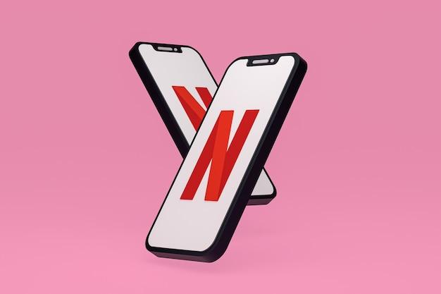 Icône netflix sur le rendu 3d du smartphone ou du téléphone portable à l'écran