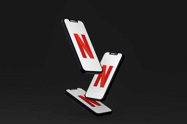 Icône Netflix Sur Le Rendu 3d Du Smartphone Ou Du Téléphone Portable à L'écran Photo Premium
