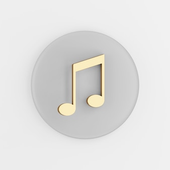 Icône de note de musique dorée dans un style plat. touche de bouton rond gris de rendu 3d, élément d'interface ui ux.