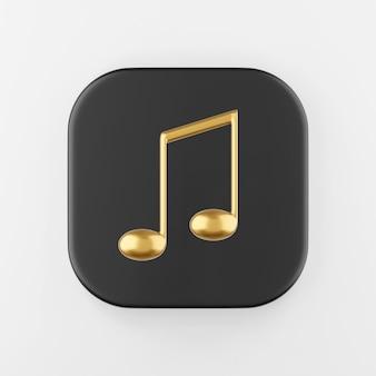 Icône de note de musique or en style cartoon. touche de bouton carré noir de rendu 3d, élément d'interface ui ux.