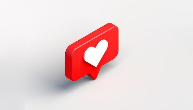 Icône de notification de médias sociaux avec coeur. comme. illustration 3d. vue isométrique.