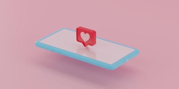 Icône de notifications de médias sociaux à l'écran. rendu 3d.