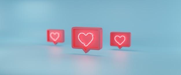 Icône de notifications de médias sociaux, rendu 3d