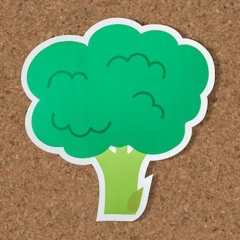 Icône de nourriture végétalienne antioxydant de brocolli