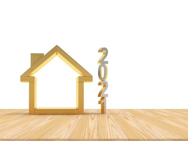 Icône d'or 2021 et maison vide