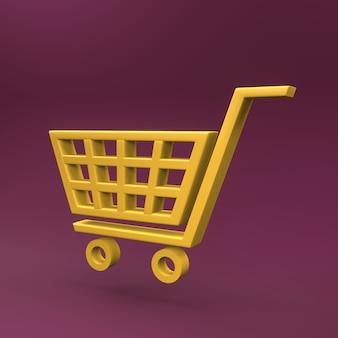 Icône de panier d'achat 3d. icône 3d de panier de supermarché