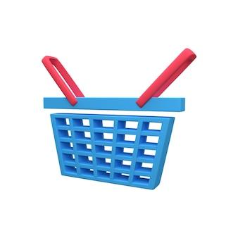 Icône de panier d'épicerie 3d. icône de panier d'épicerie de rendu 3d.