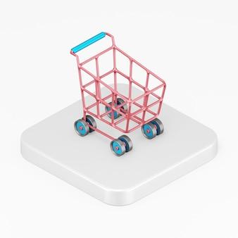 Icône de panier rouge sur roues dans l'élément de l'interface de rendu 3d ui ux