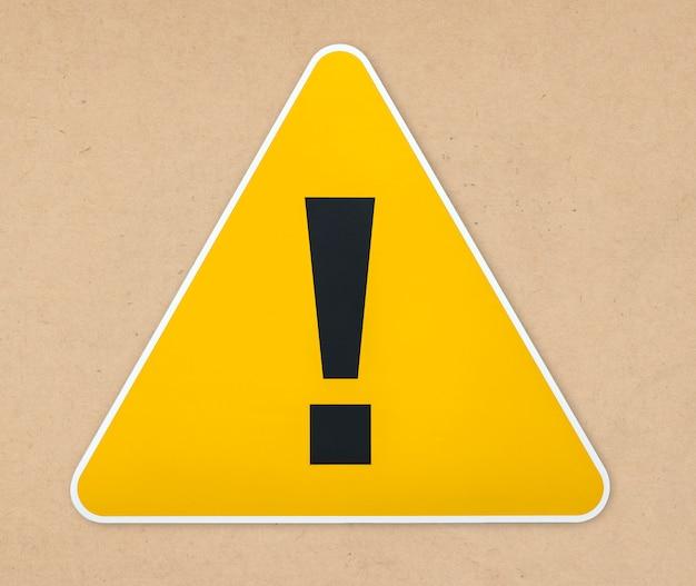 Icône de panneau d'avertissement triangle jaune isolé