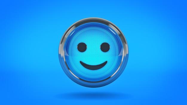 Icône de papier glacé smiley rendu 3d