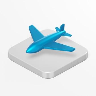Icône de plan bleu dans l'élément d'interface de rendu 3d ui ux