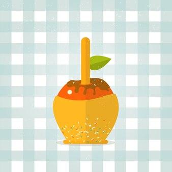 Icône de pomme au caramel dans un style plat.