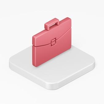 Icône de porte-documents d'affaires rouge dans l'élément d'interface de rendu 3d ui ux