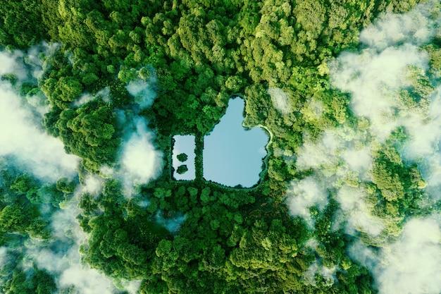 Icône pouce en l'air - comme une icône sous la forme d'un étang clair au milieu d'une forêt vierge luxuriante. rendu 3d.