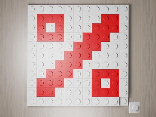 Icône de pourcentage fabriqué à partir du rendu 3d du symbole de blocs lego