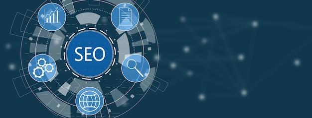 Icône de référencement sur écran numérique sur fond bleu