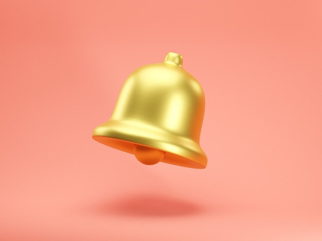Icône de rendu 3d de cloche de notification d'or isolé sur fond rose