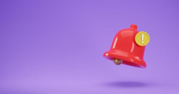 Icône de rendu 3d de la cloche de notification rouge avec un nouveau message urgent