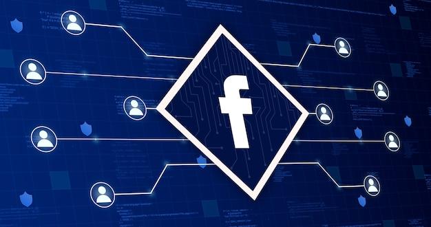 Icône de réseau social facebook reliant le système à d'autres utilisateurs sur un fond technologique avec des éléments de code 3d