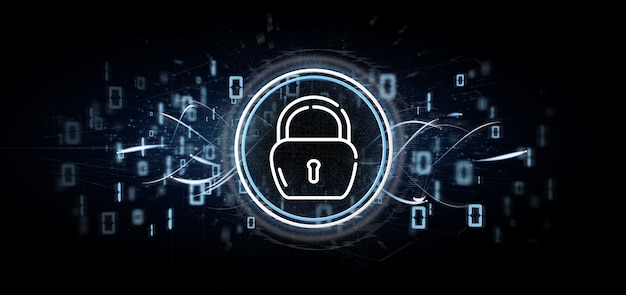 Icône de roue de cadenas de sécurité avec multimédia et médias sociaux icône rendu 3d