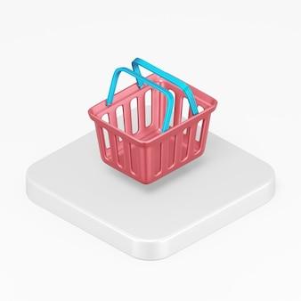 Icône rouge de panier de supermarché dans l'élément de l'interface de rendu 3d ui ux