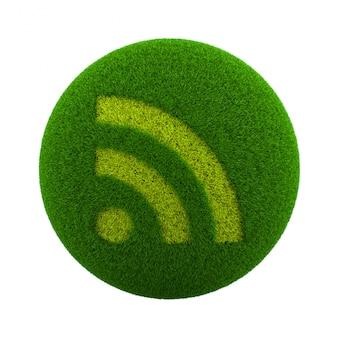 Icône rss de sphère d'herbe