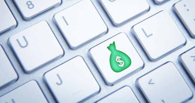 Icône de sac d'argent sur le bouton du clavier de l'ordinateur.