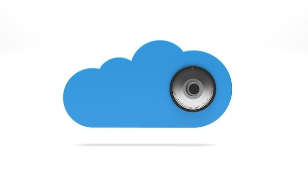 Icône de sécurité cloud avec éléments de sécurité isolés