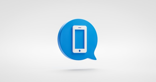 Icône de smartphone bleu ou symbole mobile de site web de contact isolé sur fond blanc de téléphone de communication classique avec concept de hotline d'assistance téléphonique. rendu 3d.