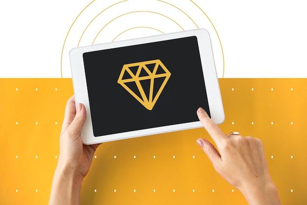 Icône de symbole graphique de bijoux de gemme de diamant