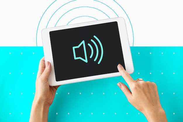Icône de symbole graphique d'intensité sonore de haut-parleur