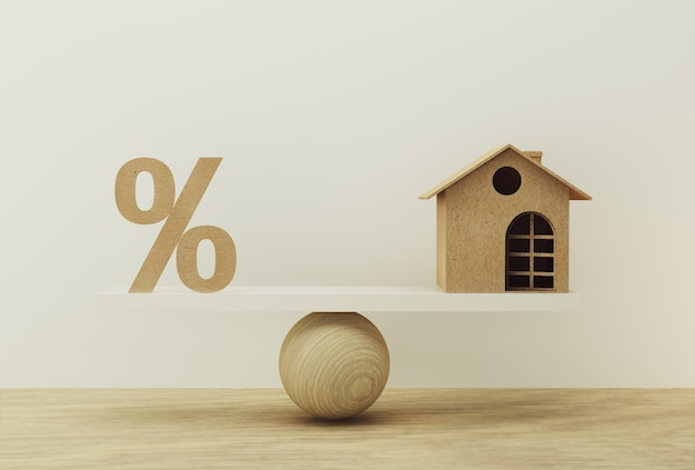 Icône de symbole en pourcentage et échelle de la maison en position égale. gestion financière: décrit les emprunts à court terme pour une résidence.