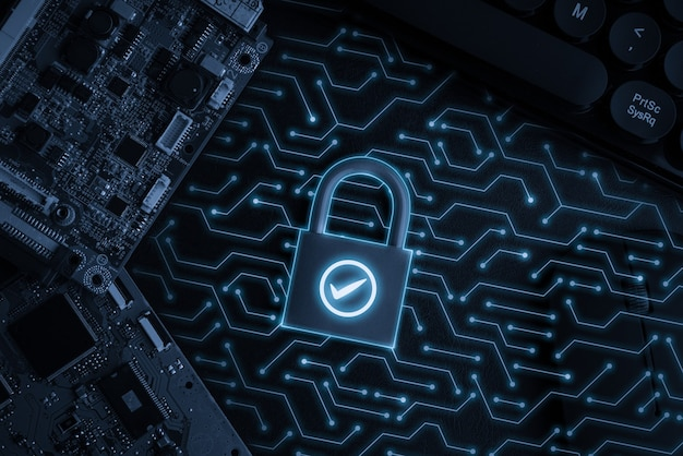 Icône de la technologie cloud sur la serrure à clé pour le concept commercial mondial d'achat en ligne