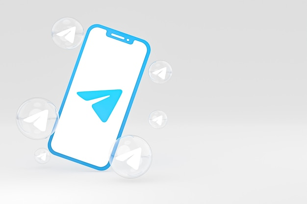 Icône de télégramme sur le rendu 3d du smartphone ou du téléphone portable à l'écran