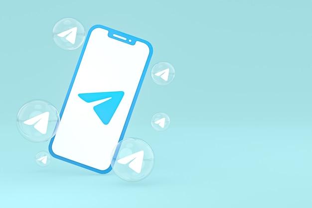 Icône de télégramme sur le rendu 3d du téléphone mobile à l'écran
