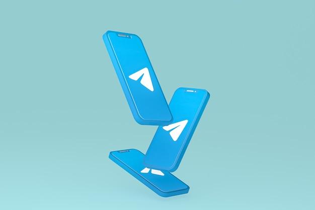 Icône de télégramme sur les téléphones mobiles à écran rendu 3d