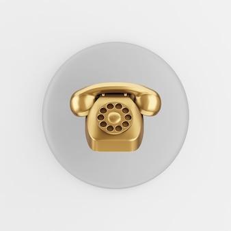 Icône de téléphone vintage doré. bouton clé rond gris de rendu 3d, élément d'interface ui ux.