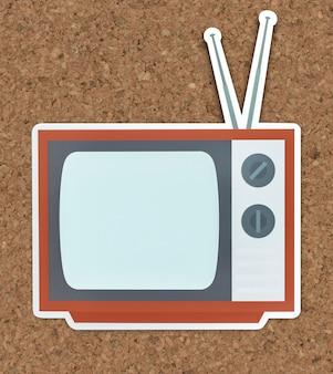 Icône de la télévision isolée sur un fond