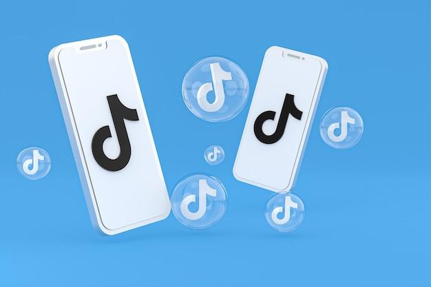 Icône tiktok sur écran smartphone ou téléphone mobile rendu 3d sur fond bleu