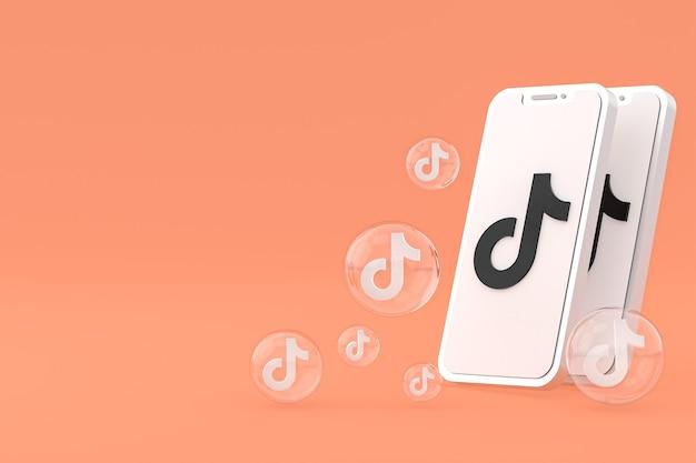 Icône tiktok sur écran smartphone ou téléphone mobile rendu 3d sur fond orange