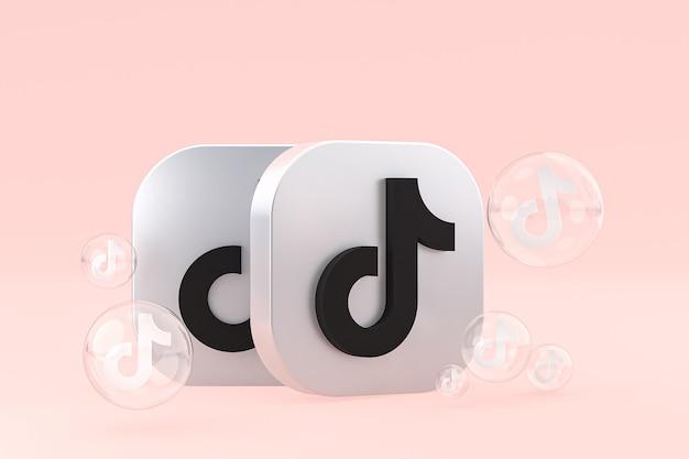 Icône tiktok sur écran smartphone ou téléphone mobile rendu 3d sur fond rose